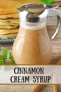 for something other than maple syrup to drizzle over your pancakes? Try this cinnamon cream syrup! It's quick and tasty!Looking for something other than maple syrup to drizzle over your pancakes? Try this cinnamon cream syrup! It's quick and tasty! Delicious Breakfast Recipes, Brunch Recipes, Pancake Recipes, Cinnamon Syrup, Cinnamon Rolls, Homemade Syrup, Pancakes And Waffles, Breakfast Pancakes, German Pancakes