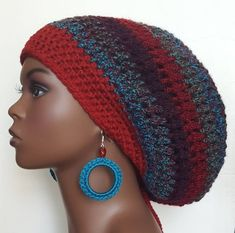 Crochet Tam with Earrings and Drawstring Dreadlocks Locs Razonda Lee Razondalee Burgundy Cranberry Blue Green Crochet Slouchy Hat, Chunky Crochet, Knitted Hats, Crochet Hats, Wide Brimmed Hats, Brim Hat, Big Afro, How To Wash Hats, Loc Jewelry