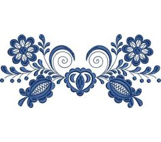 Výšivka vajnory, 10x23 cm, modrá