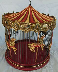 LOVE THIS!  CAROUSEL BIRD CAGE 18 x 20, Curved stripe BIG TOP, Hand Painted GORGEOUS HORSES
