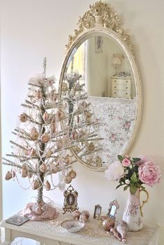 Pretty!  Shabby Chic Christmas, but I'd hate to put it away!