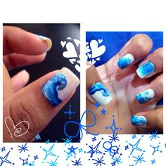 #nails #naildesign #nailart #bluenails #wave ^.^
