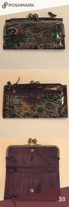 💜Cute wallet, purple paisley💜 Purple paisley wallet is a patent leather type material, it has many compartments for storage and has been carried for a short time, I see no flaws.....check out measurements in pictures.... thanks so much for sharing my listing💜💜💜Happy Poshing!!! Bags Wallets