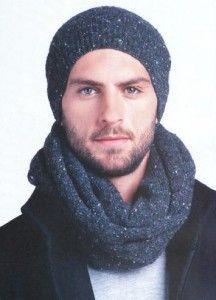 мужская вязаная шапка-бини и шарф снуд вязание спицами