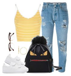 """Untitled #48"" by gvld-bricks ❤ liked on Polyvore featuring Levi's, Glamorous, Fendi, adidas Originals and Ray-Ban"