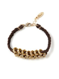 Braided Leather & Crystal Bead Bracelet by Ettika Jewelry on Gilt