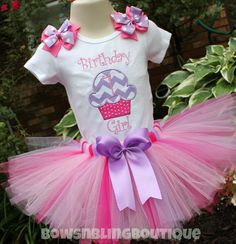 First Birthday Outfit Cupcake 1st Birthday by BowsNBlingBoutique
