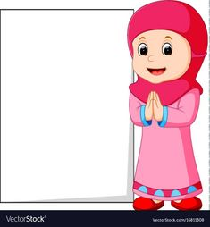 Happy muslim girl cartoon holding blank sign vector image on VectorStock Cartoon Drawing For Kids, Art Drawings For Kids, Poster Background Design, Powerpoint Background Design, Cute Cartoon Wallpapers, Cartoon Pics, Educational Activities For Preschoolers, Girl Cartoon Characters, Blank Sign