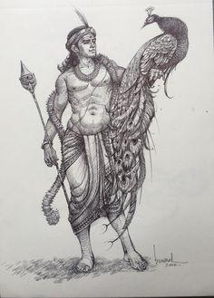 Shiva Art, Ganesha Art, Ganesha Sketch, Arte Krishna, Lord Shiva Painting, Indian Folk Art, India Art, Indian Art Paintings, Epic Art