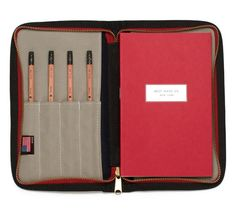 Best Made Co. Travel Zip Case    A perfect complement to all you doodlers and notetakers out there, Best Made's Travel Zip Case protects your notebook inside a water-resistant, waxed canvas outer and inside there's room for your pens/pencils, notebooks, and any small essentials you may need on your travels. $78