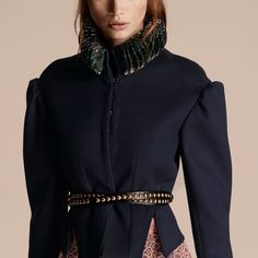 Puff Sleeve Wool Jacket with Snakeskin Collar | Burberry