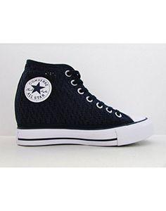 a744ac2e6e2a Converse Women s Chuck Taylor Lux Wedge Shoe Dress Blue Knit (5 B(M) US  Women)