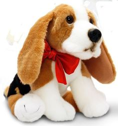 SALE - KEEL TOYS PUPPY SURPRISE BASSET HOUND 30CM TOY WITH RED BOW