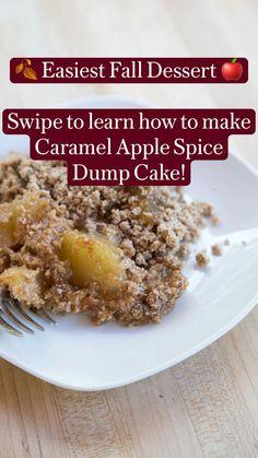 Dump Cake Recipes, Delicious Cake Recipes, Yummy Cakes, Yummy Food, Fall Desserts, No Bake Desserts, Just Desserts, Dessert Recipes, Fall Recipes