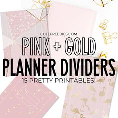 Pink + Gold Planner Printable Divider - Free Templates - Cute Freebies For You Pink Planner, Cute Planner, Printable Planner Stickers, Free Printables, Marble Planner, Planner Template, Schedule Templates, Planner Dividers, School Planner
