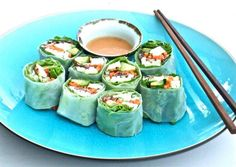 Rice wrap spring rolls with peanut sauce. The color of these makes me happy :) Whole Foods Style Rice Wraps 1 firm Avocado sliced thin 1 spring carrot cut in thin strips 1 handful bean sprouts 1 chunk of your favorite firm tofu cut in thin stripes OR Shrimps marinated in some lime juice. 2...