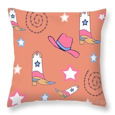 Cowboy Boots , Cowboy Hat And Barbed Wire In Blood Orange And Hot Pink Throw Pillow by Irene Irene