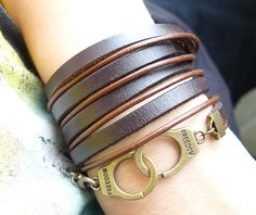 5 circles Brown Leather Wrap With Copper Handcuffs by ACuteCute, $8.00