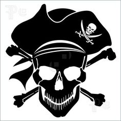 Halloween: Pirate Skull Captain with Hat and Cross Bones Clipart Illustration Silhouette Cameo, Silhouette Projects, Disney Fantasy, Pirate Clip Art, Bateau Pirate, Pirate Skull, Pirate Life, Jolly Roger, Pirate Theme