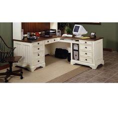 Brownwood 2 Piece Executive Desk and Return White Desk Office, White Desks, Office Ideas, Office Decor, Best Desk, Home Goods, Family Room, Sweet Home