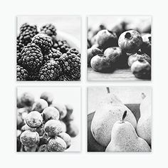 """Rustic Canvas Kitchen Wall Art Set, Food Photography, Fruit Wall Art Decor, Black White Kitchen Wall Art - 6x6 to 24x24 Fruit Wall Art Print. Ready-to-hang wrapped canvas fruit prints (set of 4), large rustic canvas kitchen wall decor, black and white fruit photography prints on canvas, sizes 6x6 to 24x24. Title: Sweet Summer (Set of 4) Canvas prints are professionally-stretched onto a 1.25"""" wooden stretcher frame; built with a solid face to ensure a tight, flat, supportive wrap. Corners…"""