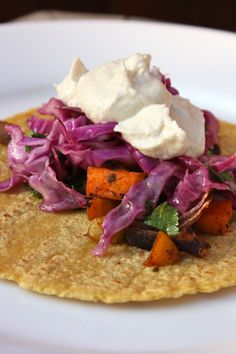 Roasted Winter Vegetable Tacos with Zesty Purple Cabbage Slaw & Lime Cashew Crema