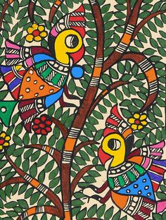 Tree of Life with Bird Painting x Lily Painting, Peacock Painting, Ganesha Painting, Madhubani Painting, Watercolor Paintings Abstract, Kalamkari Painting, Painting Tips, Painting Art, Indian Traditional Paintings