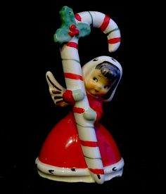 Vintage Napco 1956 Ceramic Christmas Angel Bell Girl w/Candy Cane Japan