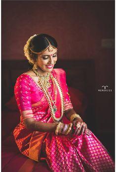 The Super Extravagant Telugu Wedding Replete With Glitz & Glamour Indian Bridal Sarees, Indian Bridal Makeup, South Indian Weddings, South Indian Bride, Telugu Wedding, Saree Wedding, Tulsi Silks, Indian Wedding Hairstyles, Indian Wedding Planning