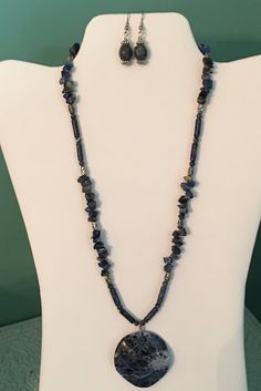 Lapis lazuli necklace and earrings by CoolBeadsDesign on Etsy