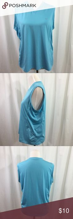 """Nike women's sleeveless blue shirt Nice women's sleeveless shirt 84% polyester 16% spandex, no snags, stains or holes. 20""""W x 25""""L Nike Tops Tank Tops"""