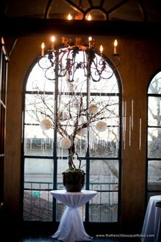 Architectural Tabletop Tree with White Carnation Balls and Strings of Crystals - Destiny Photography - The French Bouquet