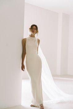 La Lune High Neck Maxi Dress   Cream   Dresses   Shona Joy – Shona Joy International Minimal Wedding Dress, Minimalist Wedding Dresses, Classic Wedding Dress, Casual Wedding, Quirky Wedding Dress, Minimalist Gown, Elopement Dress, Bridal Dresses, High Neck Wedding Dresses