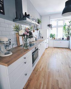 modern kitchen decor and white kitchen decor turns your home decor into a profitable flow of energy Farmhouse Sink Kitchen, Home Decor Kitchen, Kitchen Interior, New Kitchen, Home Kitchens, Kitchen Ideas, Interior Plants, Wooden Kitchen, Kitchen Layout