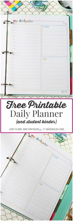 Free printable daily planner and student binder; great for back to school organization | from Just a Girl and Her Blog; part of Operation: Organization at 11 Magnolia Lane