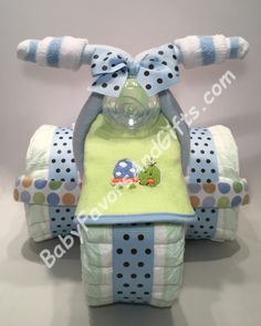 Tricycle Diaper Cake for Boy, BabyFavorsAndGifts.com