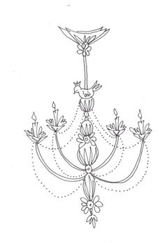 Lily Bird Chandelier PDF Hand Embroidery Pattern