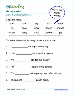 Printable Verb Worksheets from K5learning.com