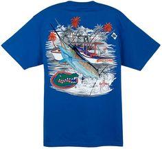 Guy Harvey Collegiate Boat Florida Short Sleeve Back-Print T-Shirt
