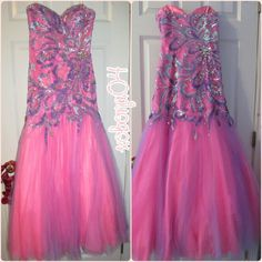 "FREE GIFT! & FINAL PRICE! Mermaid Gown Beautiful pink and purple mermaid gown with tulle skirt. Has sequined appliques on front and back of bodice. Worn once. Says size 8 but HAS BEEN ALTERED to fit Measurements: B: 35.5 W:27-27.5 H: 35.35.5 Approx. Height from BUST TO HEM: 51"" Hem is a little dirty and has some wear as pictured . Not noticeable from outside. 2Cute Dresses Prom"