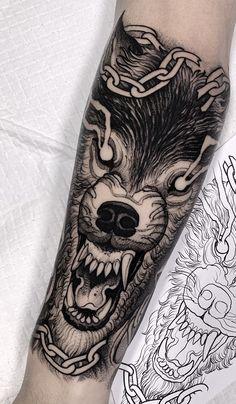 60 tatuagens de lobo para você se inspirar (2019) - Fotos e Tatuagens Name Tattoos, Wolf Tattoos, Animal Tattoos, Black Tattoos, Body Art Tattoos, Pirate Tattoo, P Tattoo, Dark Art Tattoo, Black Sleeve Tattoo