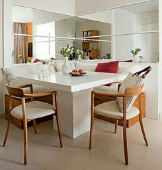 Decoração para espaços pequenos. Projeto da designer de interiores Andrezza Alencar.