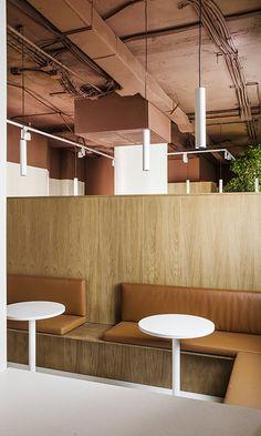 Iluminamos las nuevas oficinas de Tresmares Capital | Faro Work Cafe, Studios Architecture, Sound Absorbing, Wall Lights, Ceiling Lights, Open Plan, Floor Lamp, Light Up, Track Lighting