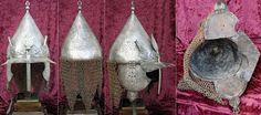 Ottoman Chichak, a style of helmet (migfer) originally worn in the 15th-16th century by cavalry of the Ottoman Empire, consisting of a rounded bowl with ear flaps, a peak with a sliding nose guard passing through the peak and two plume holders on either side, riveted mail camail / aventail (mail curtain protecting the neck and shoulders), It is engraved with designs on the helmet top and cheek plates.
