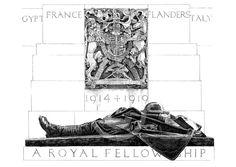 "Illustration of C.S. Jagger's ""Royal Artillery Memorial"" (1921-25), Hyde Park Corner, London. by DrawnAndPrinted on Etsy https://www.etsy.com/listing/236937396/illustration-of-cs-jaggers-royal"