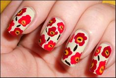 Love this poppy nail design!