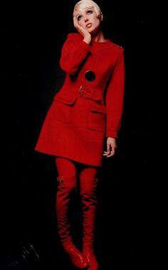 Louis Feraud, 1968 red dress coat winter wool belt mini skirt boots black button designer late 60s vintage fashion mod