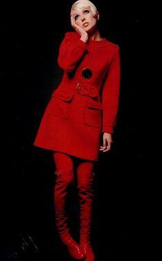 Louis Feraud, 1968 red dress coat winter wool belt mini skirt boots black button designer late 60s vintage fashion mod