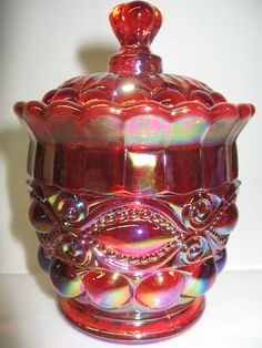 Ruby Red Carnival Glass Eyewinker Pattern Candy Dish Sugar Bowl Royal Iridescent