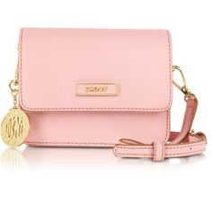 DKNY Bryant Park Mini Pink Saffiano Leather Crossbody Bag ($133) ❤ liked on Polyvore featuring bags, handbags, shoulder bags, pink, mini crossbody purse, mini shoulder bag, pink crossbody purse, mini purse and mini crossbody